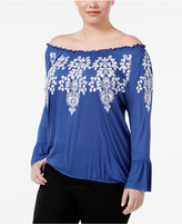 INC International Concepts Plus Size Off-The-Shoulder Peasant Top, Created for Macy's