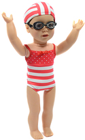 Red Striped Swim Suit Set for 18'' Doll