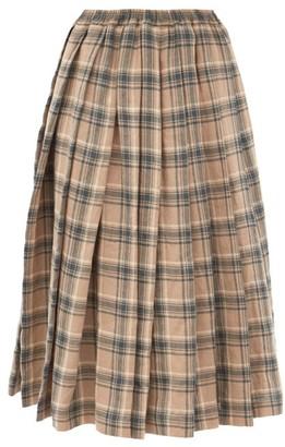 Zanini - Plaid Pleated Linen Skirt - Blue Multi
