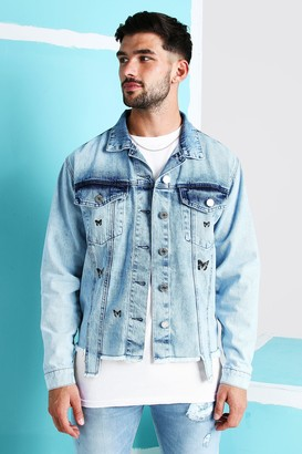 boohoo Mens Blue Loose Fit Denim Jacket With Butterfly Print, Blue