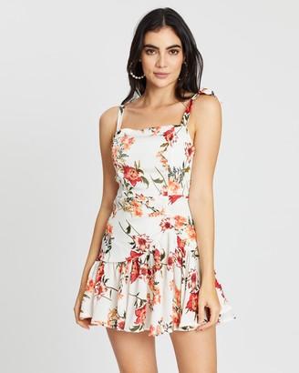 boohoo Floral Print Ruched Frill Hem Mini Dress