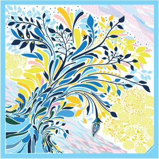 Jessie Zhao New York Silk Scarf Of Sunset In Blue