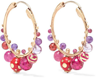 Alice Cicolini 14-karat Gold, Enamel And Multi-stone Hoop Earrings - one size