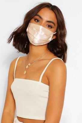 boohoo Satin Pleated Fashion Face Mask