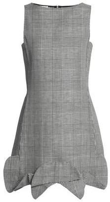 Antonio Berardi Prince Of Wales Wool, Linen And Silk-blend Mini Dress