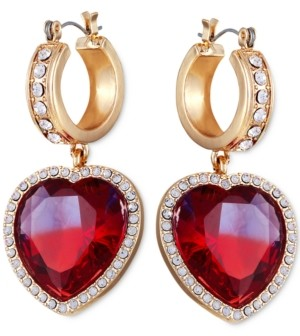 GUESS Pave & Stone Heart Charm Hoop Earrings