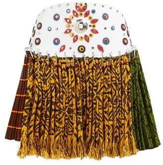 Chopova Lowena Western-belt Pleated Tapestry Wool Mini Skirt - Multi