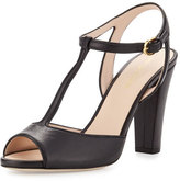 Sergio Rossi Peep-Toe Leather T-Strap Sandal, Black