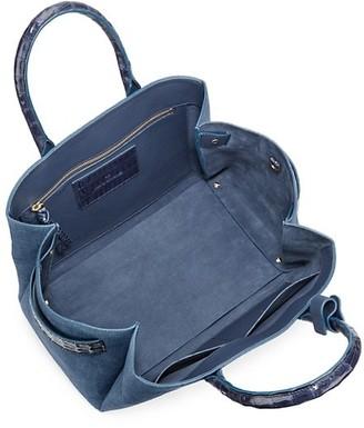 Nancy Gonzalez Large Crisitie Crocodile-Trim Linen Top-Handle Bag