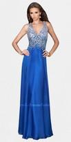 La Femme Deep V-neck Rinestone Bodice Open Back Prom Dress