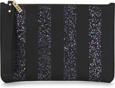 Sophie Hulme Glitter-striped leather pouch