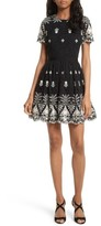 Alice + Olivia Women's Nigel Embroidered Lace Party Dress