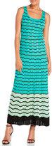 M Missoni Sleeveless Knitted Zigzag Stripe Maxi Dress