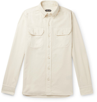 Tom Ford Button-Down Collar Brushed-Cotton Shirt