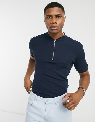 ASOS DESIGN waffle t-shirt with zippered band collar in navy