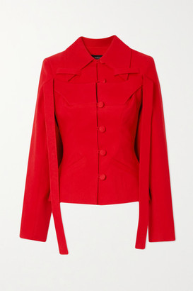 LADO BOKUCHAVA Draped Paneled Cotton-twill Blazer - Red