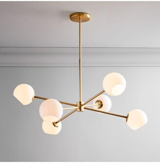 west elm Staggered Milk Glass Chandelier Ceiling Light, Brass