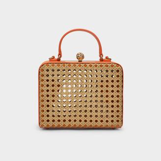 MEHRY MU Luna Mini Box Bag In Orange Leather And Rattan