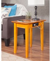 Atlantic Shaker Chair Side Table with Charger Caramel Latte