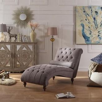 House of Hampton Yarmouth Chaise Lounge Fabric: Brown