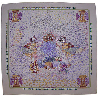 One Kings Lane Vintage Hermes Rencontre Oceane Scarf w/Box - The Emporium Ltd. - purple/lavender/lilac/multi