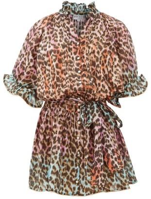 Juliet Dunn Leopard-print Ruffled Cotton Dress - Pink Print