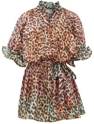 Juliet Dunn Leopard-print Ruffled Cotton Dress - Womens - Pink Print