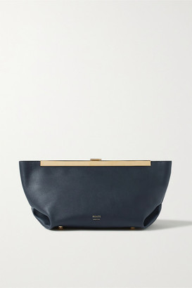 KHAITE Envelope Pleat Leather Clutch - Navy