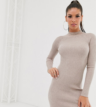 Asos Tall DESIGN Tall ribbed knit mini dress with raglan sleeve-Stone