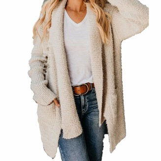 Lazzboy Womens Coat Jacket Sweater Knitted Mohair Waterfall Collar Plain Chunky Pocket Loose Cardigan UK 8-16(S(8)
