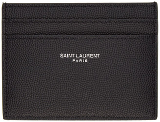Saint Laurent Black Grained Leather Card Holder