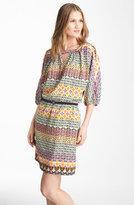 Print Blouson Crêpe de Chine Dress