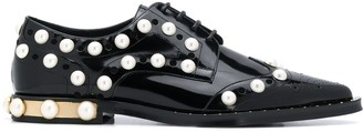 Dolce & Gabbana Embellished Perforated Lace-Up Shoes