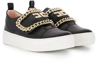 Elisabetta Franchi La Mia Bambina chain-link slip-on sneakers