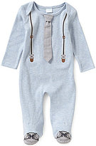 Edgehill Collection Baby Boys Newborn-6 Months Mock Suspenders & Tie Footed Coverall