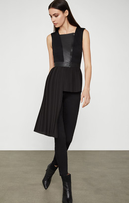BCBGMAXAZRIA Pleather-Trimmed Asymmetrical Top