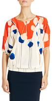 Beatrix Silk Blouse In Poppy Drip Placement Orange