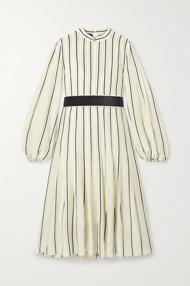 Akris Belted Striped Mulberry Silk Crepe De Chine Dress - Off-white
