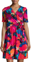 Ellen Tracy Floral-Print Wrap Dress, Red/Multi