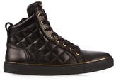 Balmain Quilted High-top Leather Trainers