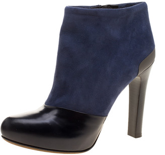 Fendi Navy Blue/Black Suede and Leather Ankle Boots Size 37.5