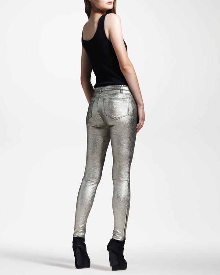 J Brand Jeans BG 111th Anniversary S8001 Super Skinny Metallic Suede Jeans