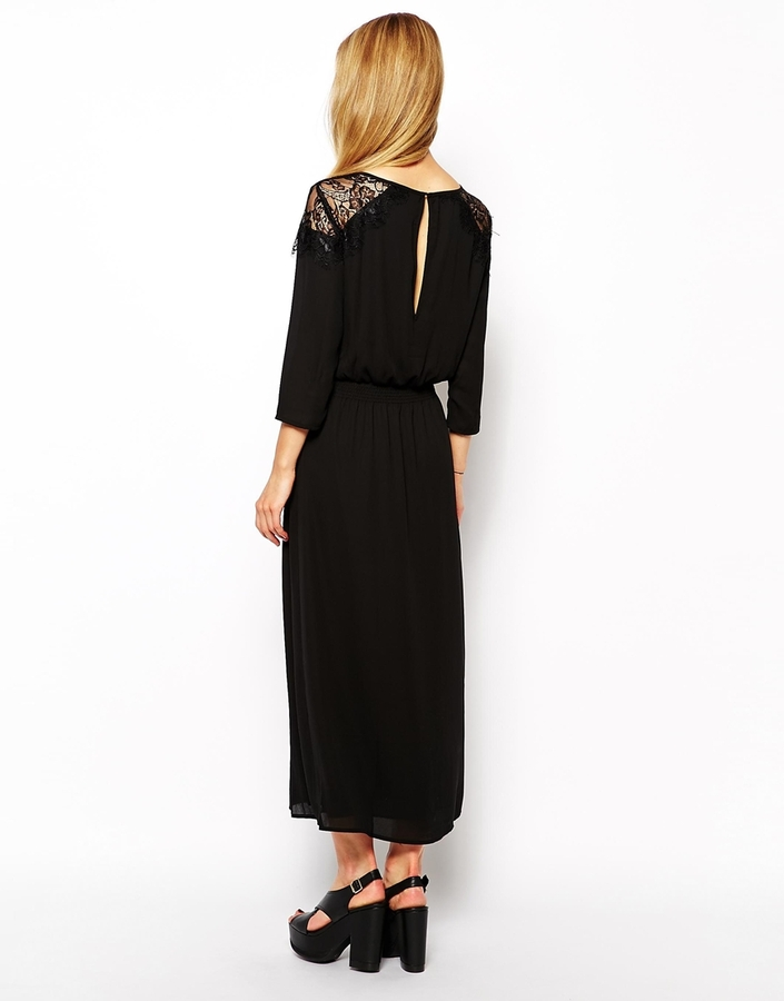 Only Long Sleeve Midi Dress With Lace Shoulders