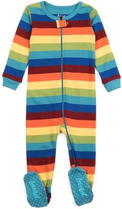 Leveret Rainbow Stripe Print Footed Pajama Sleeper