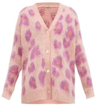 Miu Miu Leopard-intarsia Mohair-blend Cardigan - Womens - Pink Multi