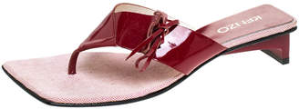 Kenzo Red Patent Leather Bow Detail Thong Sandals Size 37