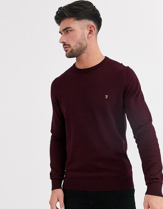 Farah Mullen cotton crew neck sweater in red