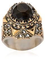 Alexander McQueen Glass Stone & Swarovski Brass Ring