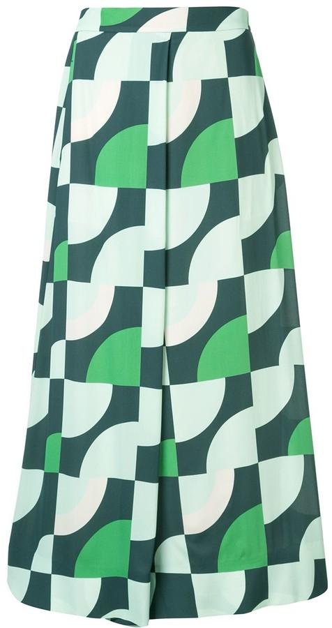 LAYEUR Geometric Flared Trousers