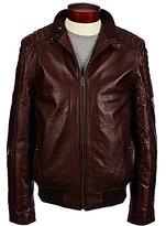 Murano Leather Moto Bomber Jacket